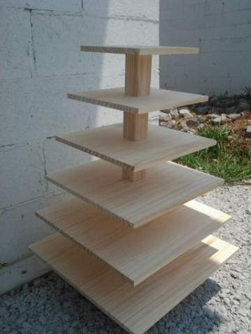 6 Tier Square Custom Made Solid Pine Cupcake Stand
